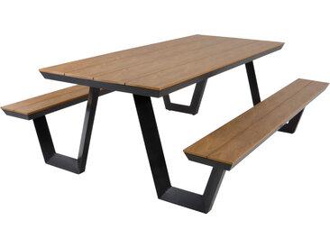 Picknickset mit Aluminiumgestell in anthrazit Tischplatte und Sitzflächen aus Polywood in Teakholz-Optik, Maße B/H/T ca. 200/75/177,5 cm