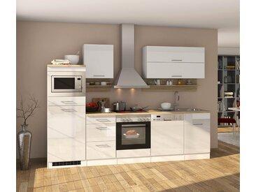 Küchenblock, weiß Hochglanz, Stellmaß: ca. 280 cm, mit Elektrogeräten inkl. Geschirrspüler und Mikrowelle