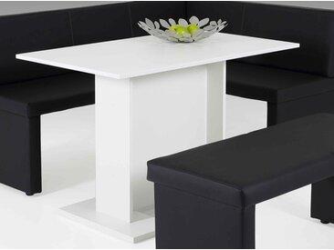 Säulentisch in weiß, Säulengestell auf Platten, Maße: B/H/T ca. 108/75/68 cm