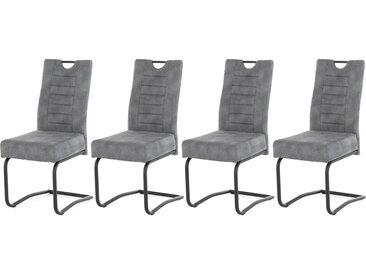 Schwingstühle mit grauem Microfaserstoff mit Taschenfederkern-Polsterung, Gestell aus Metall schwarz gepulvert, Maße: B/H/T ca. 44/99/56 cm