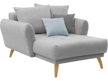 Longchair in hellgrauem Flachgewebe bezogen, inkl. Rücken- und Zierkissen, Holzfüße wildeichefarben, Maße: B/H/T ca. 120/94/156 cm