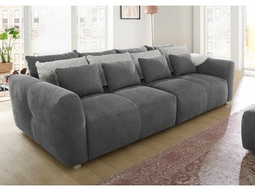 Big Sofa in dunkelgrau mit 4 große Rückenkissen, 4 mittlere Wendekissen und 4 kleine Zierkissen, Maße: B/H/T ca. 298/88/137 cm