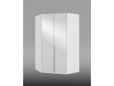 2-trg. Eckkleiderschrank in alpinweiß mit 2 Spiegeltüren, 8 Einlegeböden und 1 Kleiderstange, Maße: B/H/T ca. 120/208/120 cm