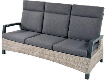Loungebank aus Polyrattangeflecht in beige, stufenlose Verstellung, Alu-Gestell, inkl. Sitz- und Rückenkissen in grau, Maße: B/H/T ca. 194,5/102/80 cm