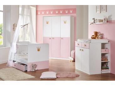Babyzimmer 4-tlg. in weiß mit Abs. in rosé, Babybett B: ca. 80 cm, Wickelkommode B: ca. 91 cm, Kleiderschrank B: ca. 139 cm