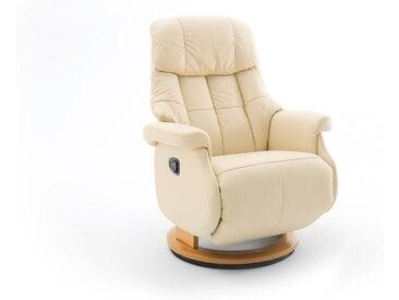 Relaxsessel-Komfort mit manueller Bedienung, in cremefarbenden Echtleder, Gestell natur, Maße: B/H/T ca. 77/87-111/86-158 cm
