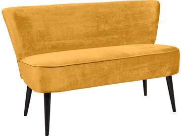 Diningbank in goldenem samtähnlichen Stoff bezogen, Polster im Sitz bestehend aus einer Nosagunterfederung, Maße: B/H/T ca. 140/83/75 cm