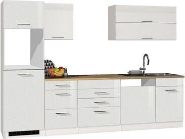 Küchenblock, weiß Hochglanz, Stellmaß: ca. 300 cm, ohne Elektrogeräte
