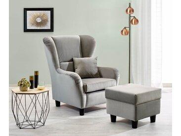 Sessel, Ohrensessel mit Hocker und Zierkissen in grauem Samt bezogen, Füße schwarz