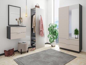 Garderobe Omnis 4 tlg Flurschrank Paneel Spiegel Konsole 36 Paar Creme-Grafit