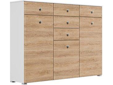 Schuhkommode Comfort 3 Türen 20 Paar 157x117 cm Weiss-Eiche