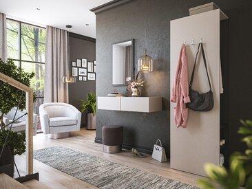 Garderobe Blu-M  3 tlg Konsole Push-to-open Spiegel Paneel 6 Paar Creme-Grafit