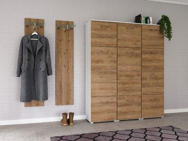 Garderobe Set 091 Volos 3 tlg Schuhschrank 12 Klappen 48 Paar Weiss-Eiche
