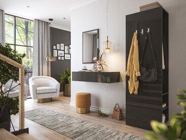 Garderobe Blu-M  3 tlg Konsole Push-to-open Spiegel Paneel 6 Paar Grafit Hgl