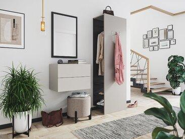 Garderobe Blu-S 3 tlg Konsole Push-to-open Spiegel Paneel 6 Paar Creme-Grafit