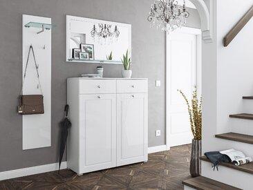 Garderobe Set 044 Cottage 3 tlg Spiegel 16 Paar Weiss-Weiss Hgl