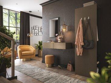 Garderobe Blu-M  3 tlg Konsole Push-to-open Spiegel Paneel 6 Paar Sand