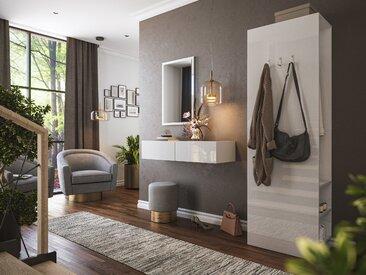 Garderobe Blu-M  3 tlg Konsole Push-to-open Spiegel Paneel 6 Paar Weiss Hgl
