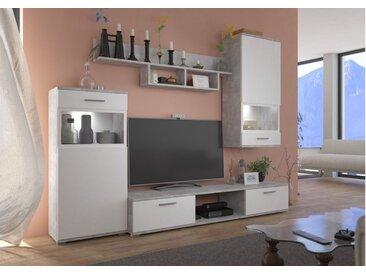 Expedo Wohnwand BLEUS, 230x200x40, weiß/Beton