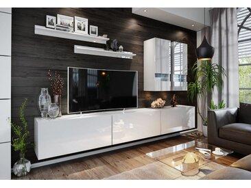 Expedo Wohnwand ELPASO 1 + LED-Beleuchtung, weiß/weiß Glanz