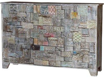 Anrichte SHANTI Puzzle 160cm massiv Mangoholz Unikat recycelte Ornamente