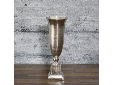 Bodenvase BELFO, 85cm groß Aluminium Dekovase Blumenvase Antik-Finish