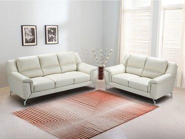Couchgarnitur Leder 3+2 DELKO - Elfenbein