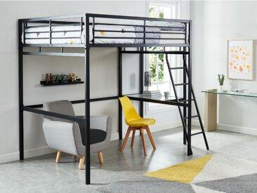 Hochbett mit Schreibtisch CASUAL II + Lattenrost - 140x190cm - Anthrazit