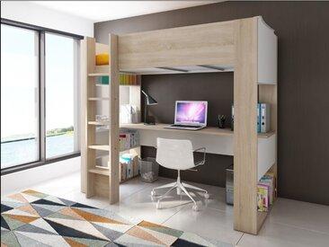Hochbett mit Schreibtisch NOAH - 90x200cm - Eichefarben