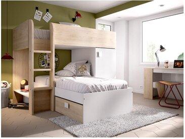 Etagenbett mit Stauraum RICARDO - 2 x 90 x 190 cm - Modulierbar - Eiche & Weiß