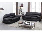 Couchgarnitur Leder 3+2 THIBAULT - Schwarz