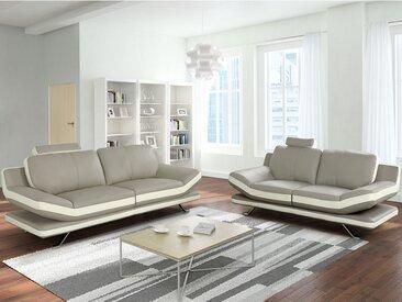 Couchgarnitur Leder 3+2 LATIKA - Beige & Elfenbein