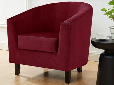 Lounge-Sessel CRISTOBAL - Samt - Bordeauxrot