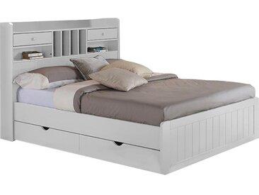 Holzbett mit Stauraum Mederick - 140x190cm - Weiß