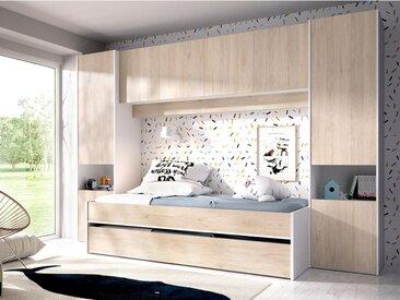 Ausziehbett mit Bettbrücke SELENA - 90 x 190 cm - Eichefarben & Weiß