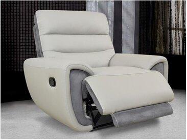 Relaxsessel Fernsehsessel COSMY - Leder - Hellgrau & Anthrazit