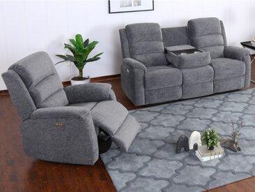 Couchgarnitur mit elektrischer Relaxfunktion 3+1 NEVERSI - Stoff - Anthrazit