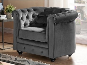 Chesterfield Sessel Samt ANNA - Anthrazit