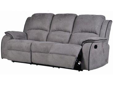 Relaxsofa Microfaser 3-Sitzer HERNANI - Grau