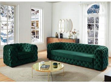 Couchgarnitur Chesterfield Samt 3+1 STANLEY - Tannengrün