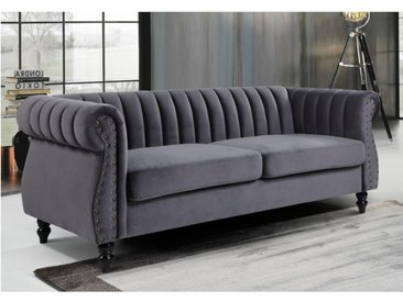 Chesterfield Sofa 3-Sitzer TRUMBO - Samt - Anthrazit
