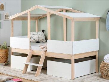 Kinderbett Hausbett mit Schubladen VASCO - 90x190 cm - Kiefernholz - Naturfarben/Weiß