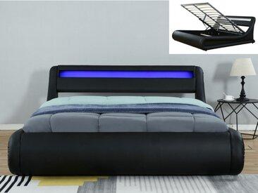 Bett mit Bettkasten & LED-Beleuchtung IRIS - 160 x 200 cm - Schwarz