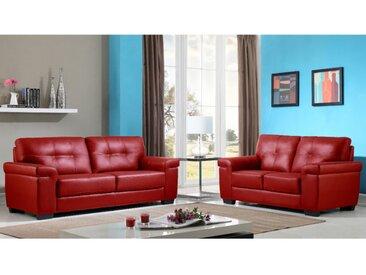 Couchgarnitur Leder 3+2 HAZEL - Rot