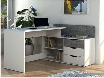 Eckschreibtisch DECLAN II - Holz (MDF) - 3 Schubladen & 2 Ablagen - Weiß & Beton-Optik