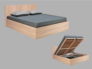Bett mit Lattenrost & Stauraum Elphege - Eichefarben - 160x200cm