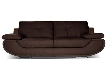 Ledersofa 3-Sitzer ORGULLOSA - Luxusleder - Braun