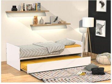 Ausziehbett NOLAN + Lattenrost - 90x190cm - Weiß