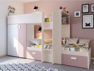 Etagenbett mit Kleiderschrank JULIEN - 2x90x190cm - Weiß & Rosa
