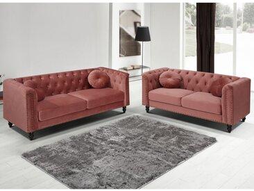 Couchgarnitur 3+2 TURNER - Samt - Altrosa